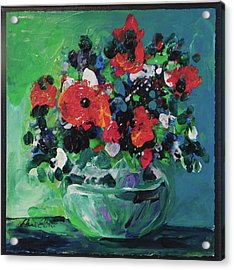 Original Bouquetaday Floral Painting By Elaine Elliott, Blues And Greens, 12x12, 59.00 Incl. Shippin Acrylic Print by Elaine Elliott