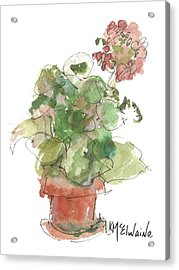 Original Buspaintings Geranium Watercolor Painting By Kathleen Mcelwaine Acrylic Print