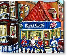 Original Canadian Hockey Art Paintings For Sale Snowfall At Dairy Queen Ville Emard Montreal Winter  Acrylic Print by Carole Spandau