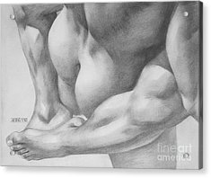 Original Charcoal Drawing Art Gay Interest Men  On Paper #16-3-11 Acrylic Print by Hongtao Huang