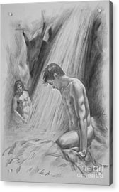 Original Charcoal Drawing Art Male Nude By Twaterfall On Paper #16-3-11-16 Acrylic Print