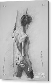 Original Charcoal Drawing Art Male Nude  On Paper #16-3-11-12 Acrylic Print
