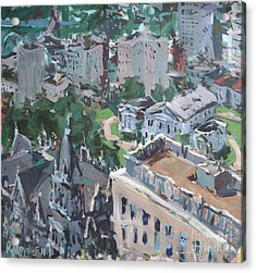 Acrylic Print featuring the painting Original Contemporary Cityscape Painting Featuring Virginia State Capitol Building by Robert Joyner