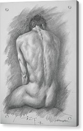 original Drawing male nude man #17325 Acrylic Print