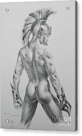 Original Drawing Sketch Charcoal Chalk Male Nude Gay Interst Man Art Pencil On Paper -0040 Acrylic Print