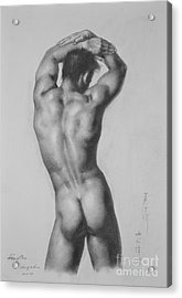 Original Drawing Sketch Charcoal Gay Interest Man Male Nude Art Pencil On Paper-0047 Acrylic Print