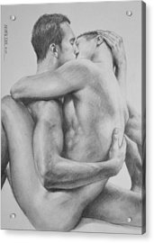 Original Drawing Sketch Charcoal   Male Nude Gay Interest Man Art Pencil On Paper -0034 Acrylic Print by Hongtao     Huang