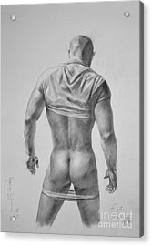 Original Drawing Sketch Charcoal Male Nude Gay Interest Man Art Pencil On Paper #11-17-19 Acrylic Print