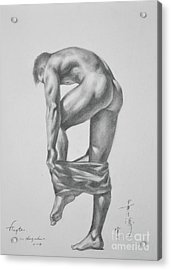 Original Drawing Sketch Charcoal Pencil Gay Interest Man Art  On Paper #11-17-14 Acrylic Print