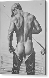 Original Drawing Sketch Charcoal  Pencil Male Nude Gay Interest Man Art Pencil On Paper -0031 Acrylic Print