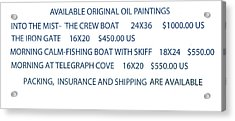 Acrylic Print featuring the painting Original Oil Painting Availability List by Gary Giacomelli