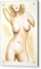 Acrylic Print featuring the painting Original Painting Of A Nude Female Torso by G Linsenmayer