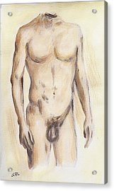 Original Painting Of A Nude Male Torso Acrylic Print