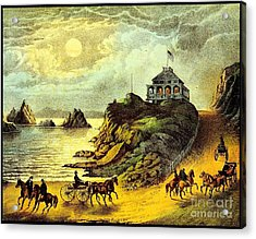 Original San Francisco Cliff House Circa 1865 Acrylic Print by Peter Gumaer Ogden