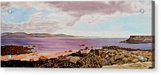 Original Watercolor Painting - Dublin Seascape - 18.5 X 35.75 Acrylic Print by Daniel Fishback