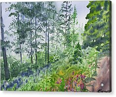 Acrylic Print featuring the painting Original Watercolor - Summer Pine Forest by Cascade Colors