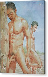 Original Watercolour Painting Art Young Men Male Nude Boys  On Paper #16-1-26-15 Acrylic Print