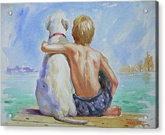 Original Watercolour Painting Nude Boy And Dog On Paper#16-11-18 Acrylic Print