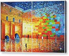 Acrylic Print featuring the painting Original Western Wall Jerusalem Wailing Wall Acrylic 2 Panels by Georgeta Blanaru
