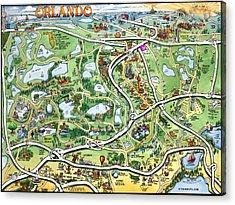 Orlando Florida Cartoon Map Acrylic Print by Kevin Middleton