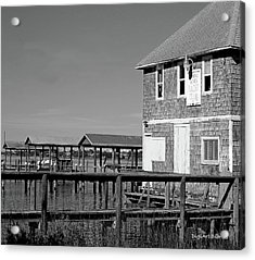 Ormond Yacht Club Black And White Acrylic Print by DigiArt Diaries by Vicky B Fuller