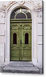 Ornamented Gates In Olive Colors Acrylic Print
