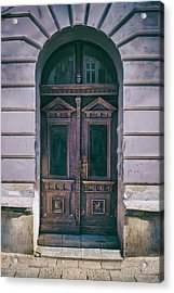 Ornamented Wooden Gate In Violet Tones Acrylic Print