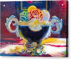 Ornate Black Bowl Acrylic Print by Jeanene Stein