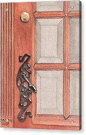 Ornate Door Handle Acrylic Print by Ken Powers