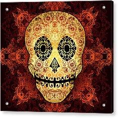 Ornate Floral Sugar Skull Acrylic Print by Tammy Wetzel
