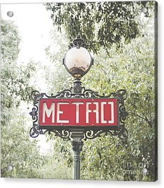 Ornate Paris Metro Sign Acrylic Print by Ivy Ho