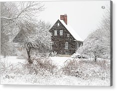 Orrs Island Home In A Snow Storm Acrylic Print by Benjamin Williamson