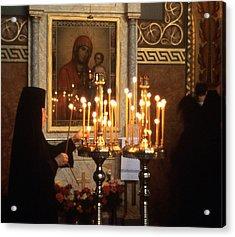 Orthodox Church Georgia Nuns Lighting Prayer Candles Acrylic Print by Richard Singleton