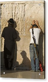 Orthodox Jew And Soldier Pray, Western Acrylic Print by Richard Nowitz