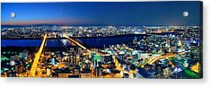 Osaka Night Rooftop View Acrylic Print