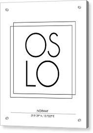 Oslo City Print With Coordinates Acrylic Print