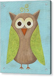 Otis The Owl Nursery Art Acrylic Print by Katie Carlsruh