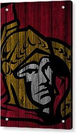 Ottawa Senators Wood Fence Acrylic Print by Joe Hamilton