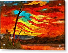 Our Banner In The Sky Revisited - Da Acrylic Print by Leonardo Digenio
