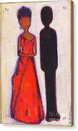 Our First Lady In Red Her Husband Is Black Acrylic Print by Ricky Sencion