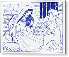 Acrylic Print featuring the painting Our Lady And The Holy Child Jesus Visit St Ignatius The Convalescent In Loyola by William Hart McNichols
