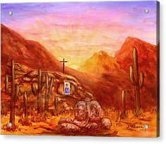 Acrylic Print featuring the painting Our Lady Of The Desert by Judy Filarecki