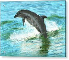 Acrylic Print featuring the digital art Out For A Swim by Barry Jones