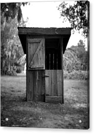 Out House In Black And White Acrylic Print by Rebecca Brittain