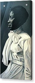 Out Of The Box Woman In Large White Bow  Acrylic Print by Joyce Owens