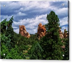 Acrylic Print featuring the digital art outcroppings in Colorado Springs by Chris Flees