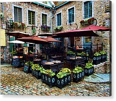 Outdoor French Cafe In Old Quebec City Acrylic Print