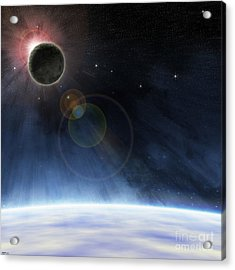 Acrylic Print featuring the digital art Outer Atmosphere Of Planet Earth by Phil Perkins