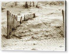 Outer Banks Beach Sand Fence  Acrylic Print by Randy Steele