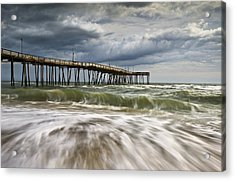 Outer Banks Nc Avon Pier Cape Hatteras - Fortitude Acrylic Print by Dave Allen